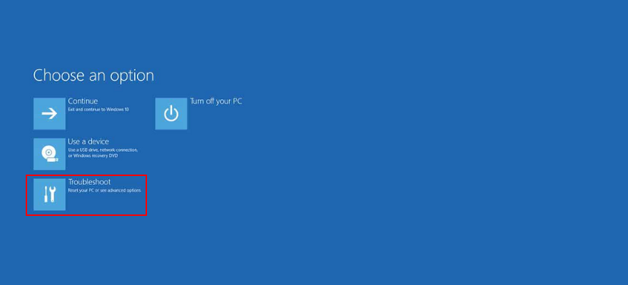 Windows 10 shows how to use troubleshooting from the advanced startup mode