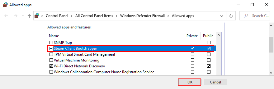 Windows 10 shows how to allow Steam through the firewall