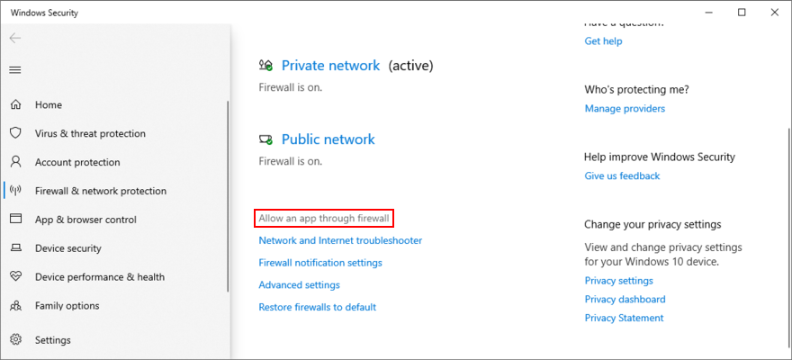 Windows 10 shows how to allow an app through the firewall