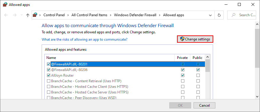 Windows 10 shows how to change app firewall settings