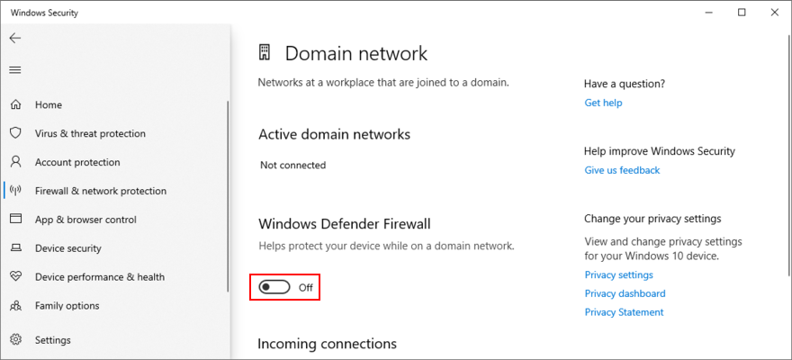 Windows 10 shows how to disable the domain network firewall