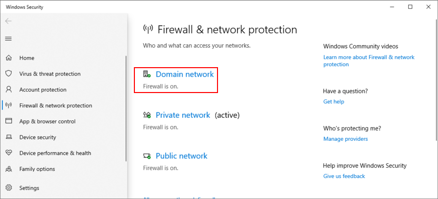 Windows 10 shows how to access Domain Network firewall settings