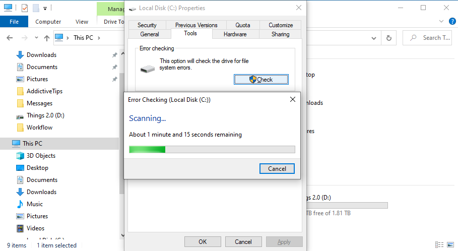 Windows 10 is busy scanning the C: drive for errors