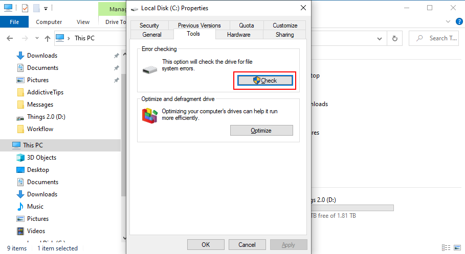 Windows 10 shows how to check the C: drive for errors