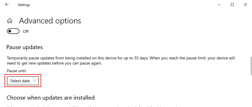 Windows 10 shows how to pause Windows Updates