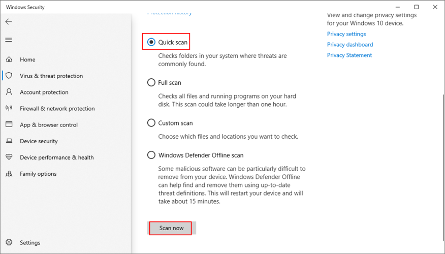 Windows 10 shows how to run a Quick Scan using Windows Defender
