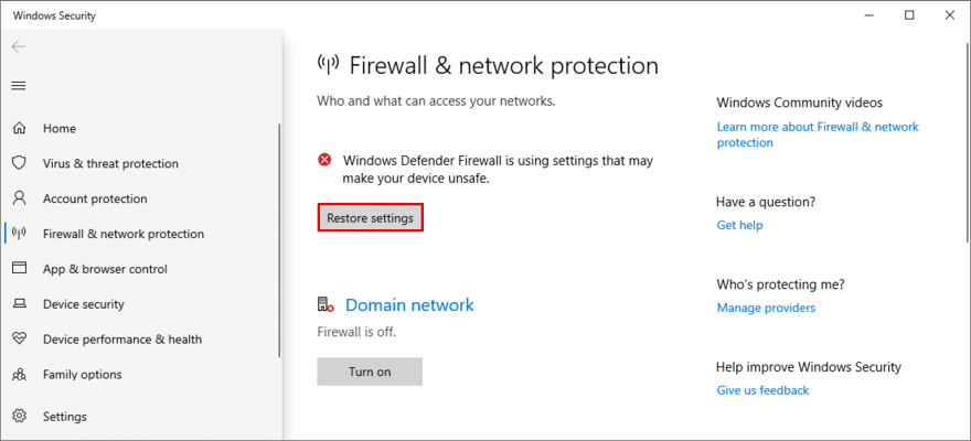 Windows 10 shows how to restore firewall settings
