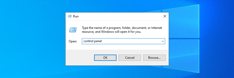 Windows 10 shows how to access Control Panel using the Run tool