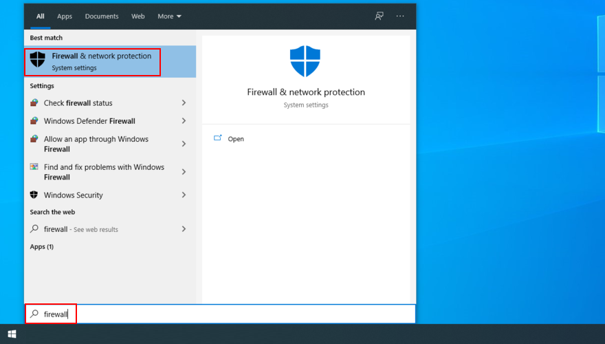 Windows 10 shows how to search for Firewall and Network Protection