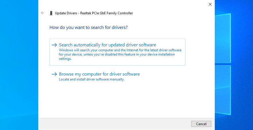 Windows 10 shows how to search automatically for updated network driver software