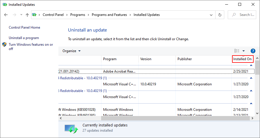 Windows 10 shows how to sort installed Windows Updates by date