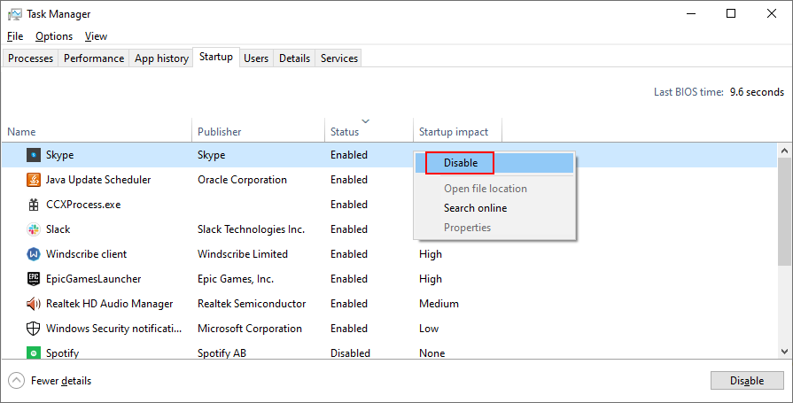 Windows 10 shows how to disable startup processes