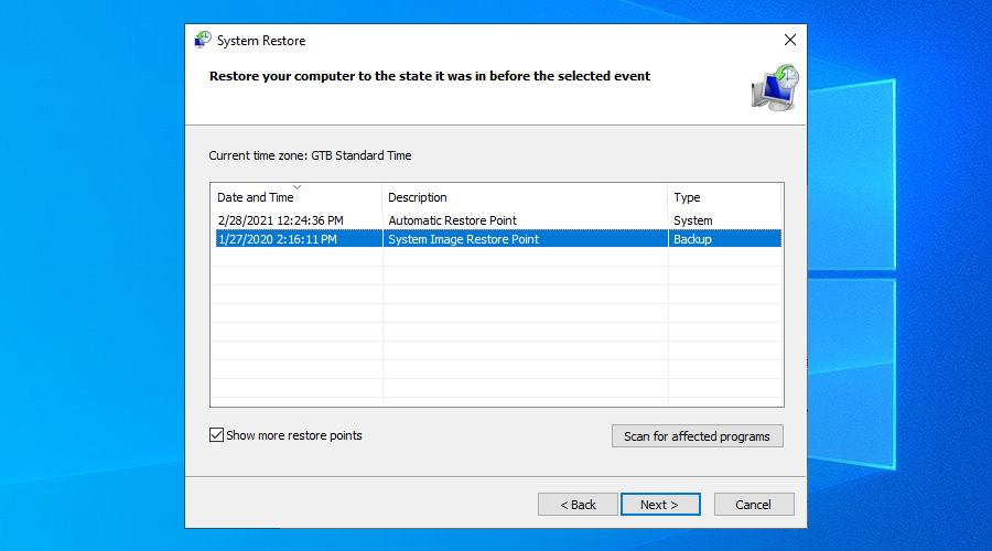 Windows 10 shows a couple of system restore points