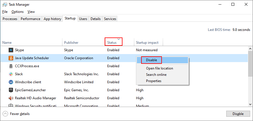 Windows 10 shows how to sort startup apps by status and disable them from the Control Panel