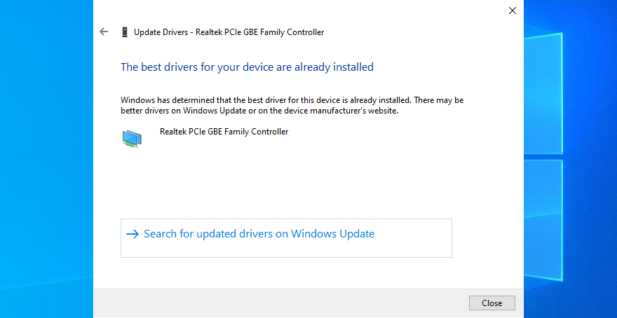 Windows 10 shows The best drivers for your network device are already installed message