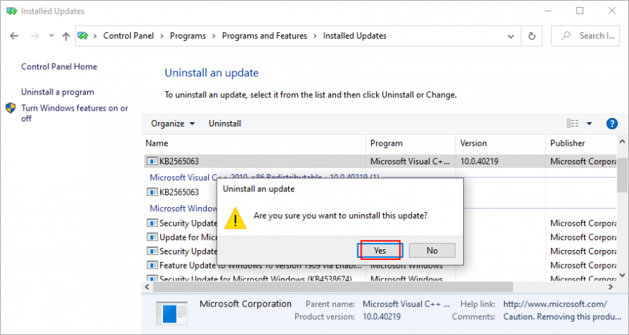 Windows 10 shows how to confirm Windows updates removal