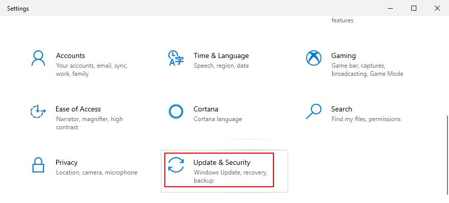 Windows 10 shows how to access the Update and Security settings