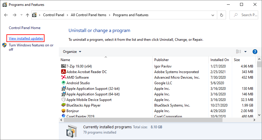 Windows 10 shows how to view installed Windows updates