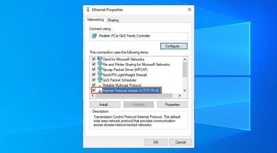 Windows shows how to edit an Ethernet connection's properties