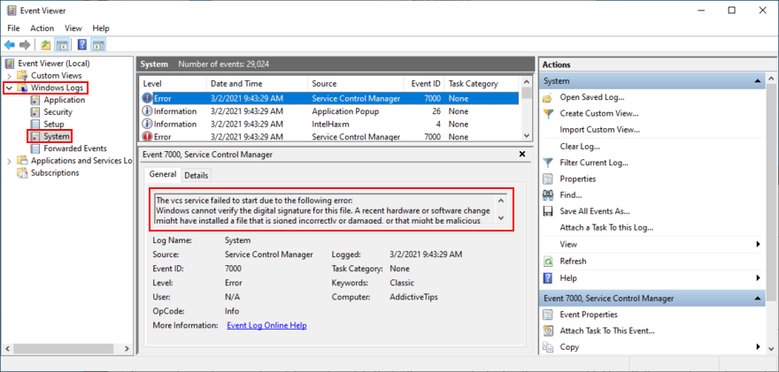 Windows shows how to inspect a system error in Event Viewer