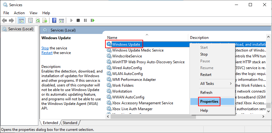 Windows 10 shows how to access the Windows Update service properties