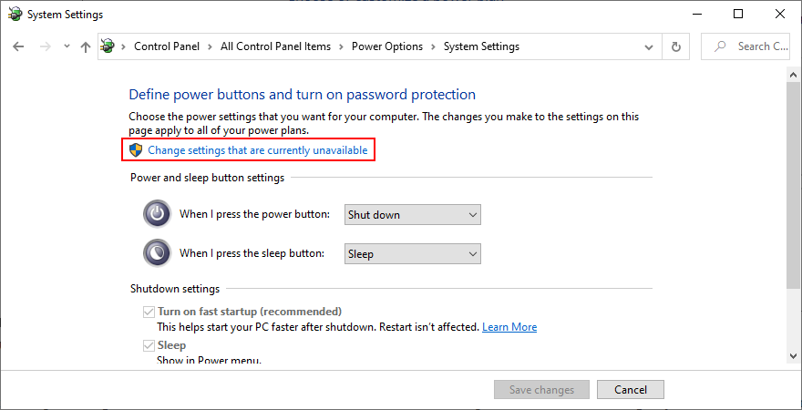 Windows shows how to change power settings that are currently unavailable