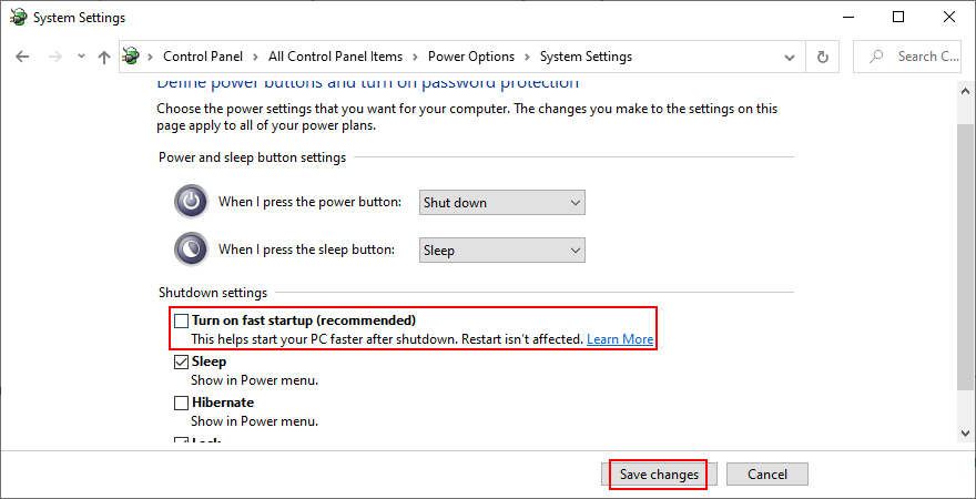 Windows shows how to disable Fast Startup