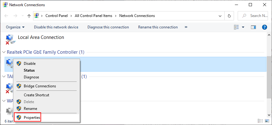 Windows shows how to access an Internet connection's properties