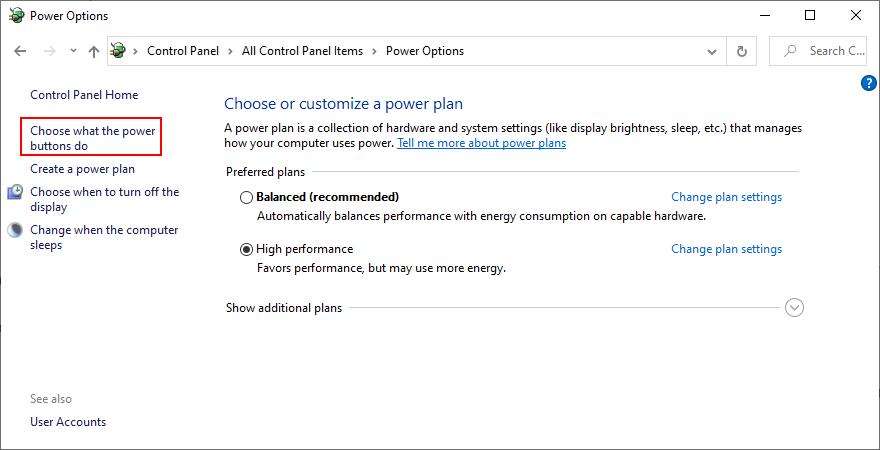 Windows shows how to access the power button settings