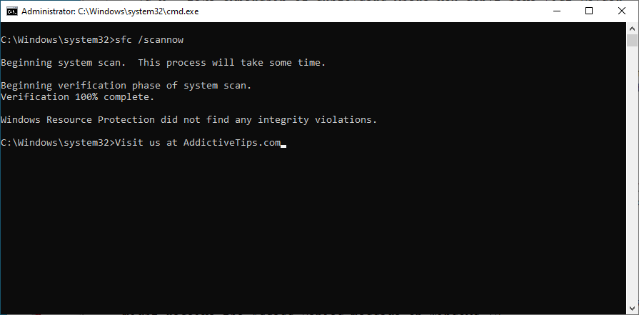 Windows shows how to run the sfc scannow command in CMD