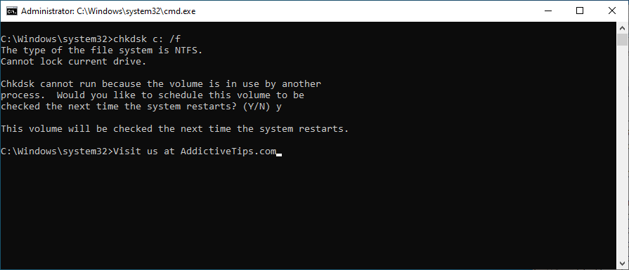 Command Prompt shows how to run chkdsk c: /f