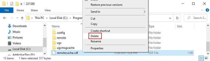 how to delete the delete Steam remotecache file