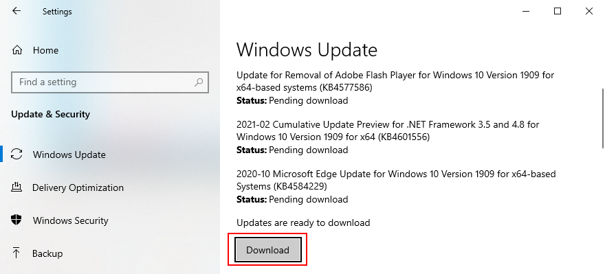 Windows 10 shows how to download system updates