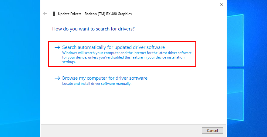 Windows 10 shows how to search automatically for updated driver software