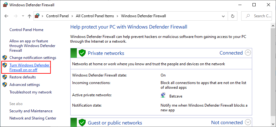 Control Panel shows how to turn Windows Defender Firewall on or off