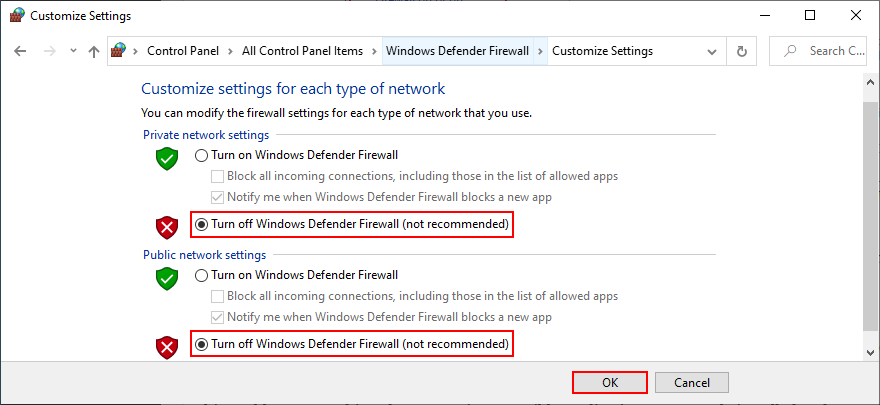 Control Panel shows how to turn off Windows Defender Firewall