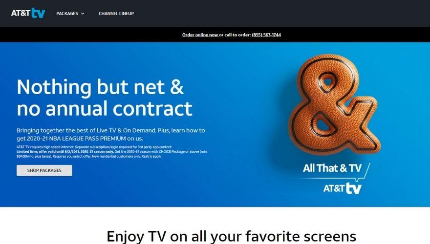 AT&T TV website