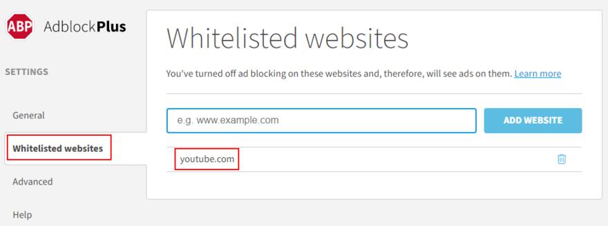 Adblock Plus shows how to add YouTube to the whitelist