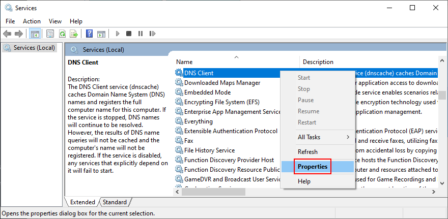 how to access DNS Client service properties