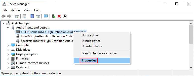 Device Manager shows how to access audio properties
