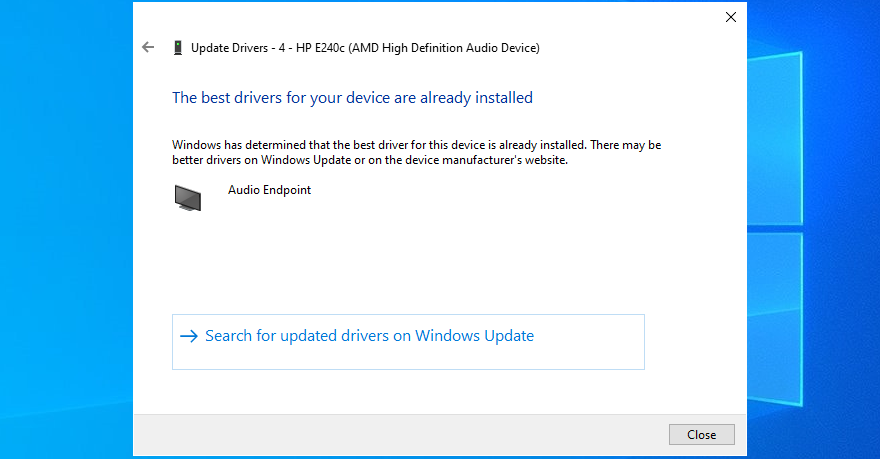 Device Manager shows that the best audio drivers are already installed