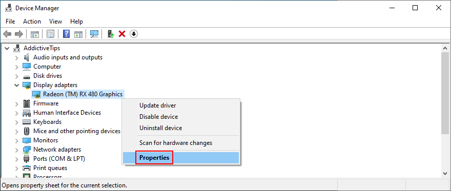 Device Manager shows how to access display properties