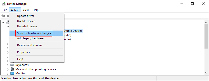 Device Manager shows how to scan for hardware changes