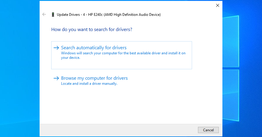 Device Manager shows how to search automatically for audio drivers