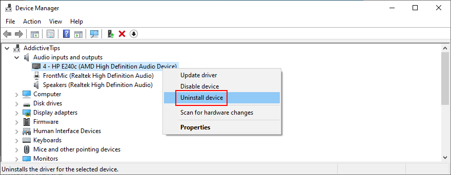Device Manager shows how to uninstall an audio device