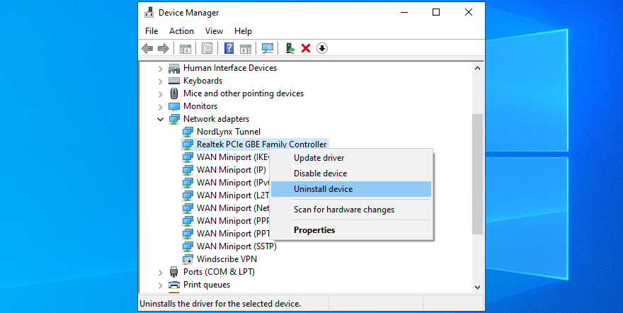 Device Manager shows how to uninstall network device