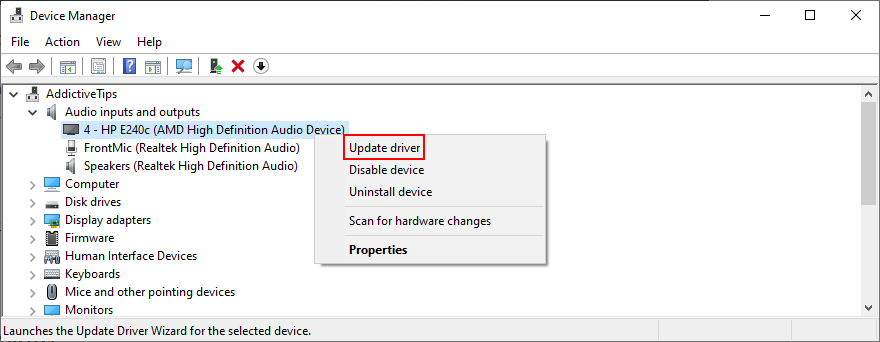 Device Manager shows how to update the audio driver
