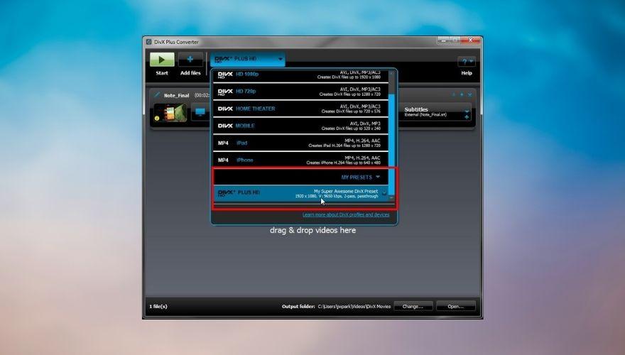 DivX Converter interface