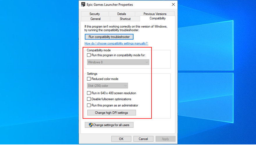 how to disable Epic Games Launcher compatibility settings
