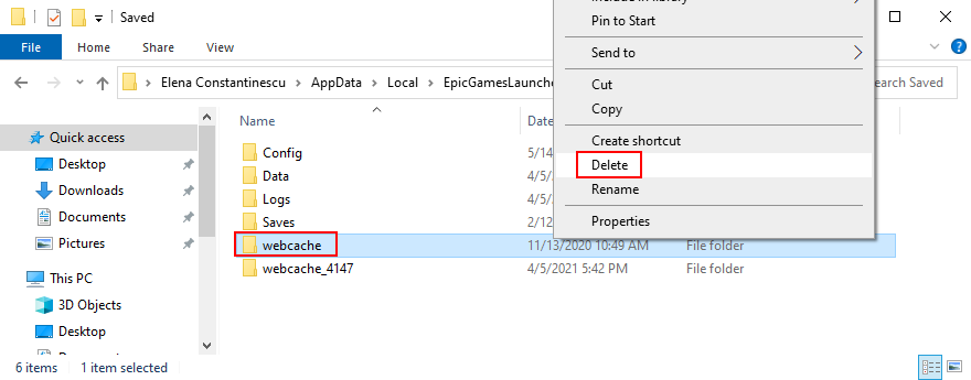 Epic Games Launcher shows how to delete the webcache folder
